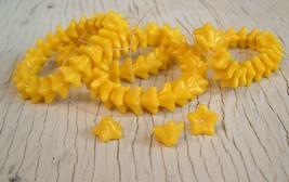 CZECH yellow Flowers GLASS BEADS 06x09mm 100 beads - $10.86