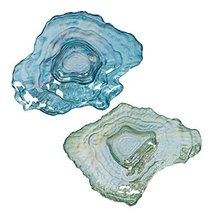 Glass Blue and Green Oyster Shell Shaped Dishes Set of 2 Coastal Tablewa... - $39.99