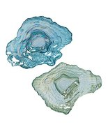 Glass Blue and Green Oyster Shell Shaped Dishes Set of 2 Coastal Tableware by Be - $39.99