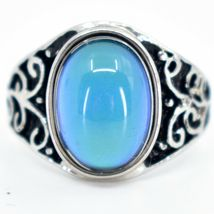 Vintage Inspired Style Silver & Black Painted Color Changing Cabochon Mood Ring image 7