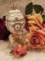 Imperial White Faberge Egg 24K Gold Lion 4ct Russian Trinket Box 200 Swarov. Dia - $249.00