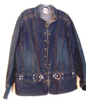 Faded Glory Blue Jean Denim Long Sleeve Shirt with Stud Accents Size 26W 28W - $33.24