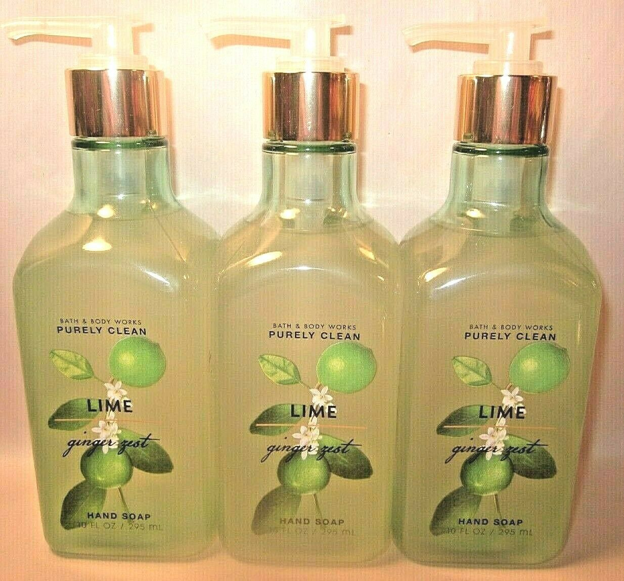 3 Bath & Body Works Purely Clean Hand Soap 10 oz Lime Ginger Zest