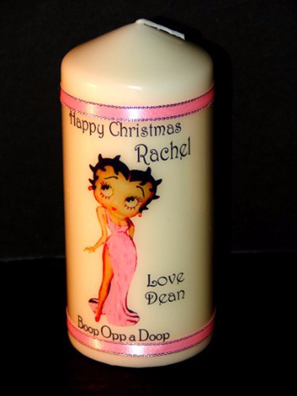 Betty Boop  in the pink Personalised  Christmas candle  gift