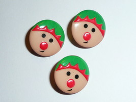 "Whimsical Elf  Round Plastic Shank Buttons (3)  Buttons 11/16"" Christmas... - $7.99"