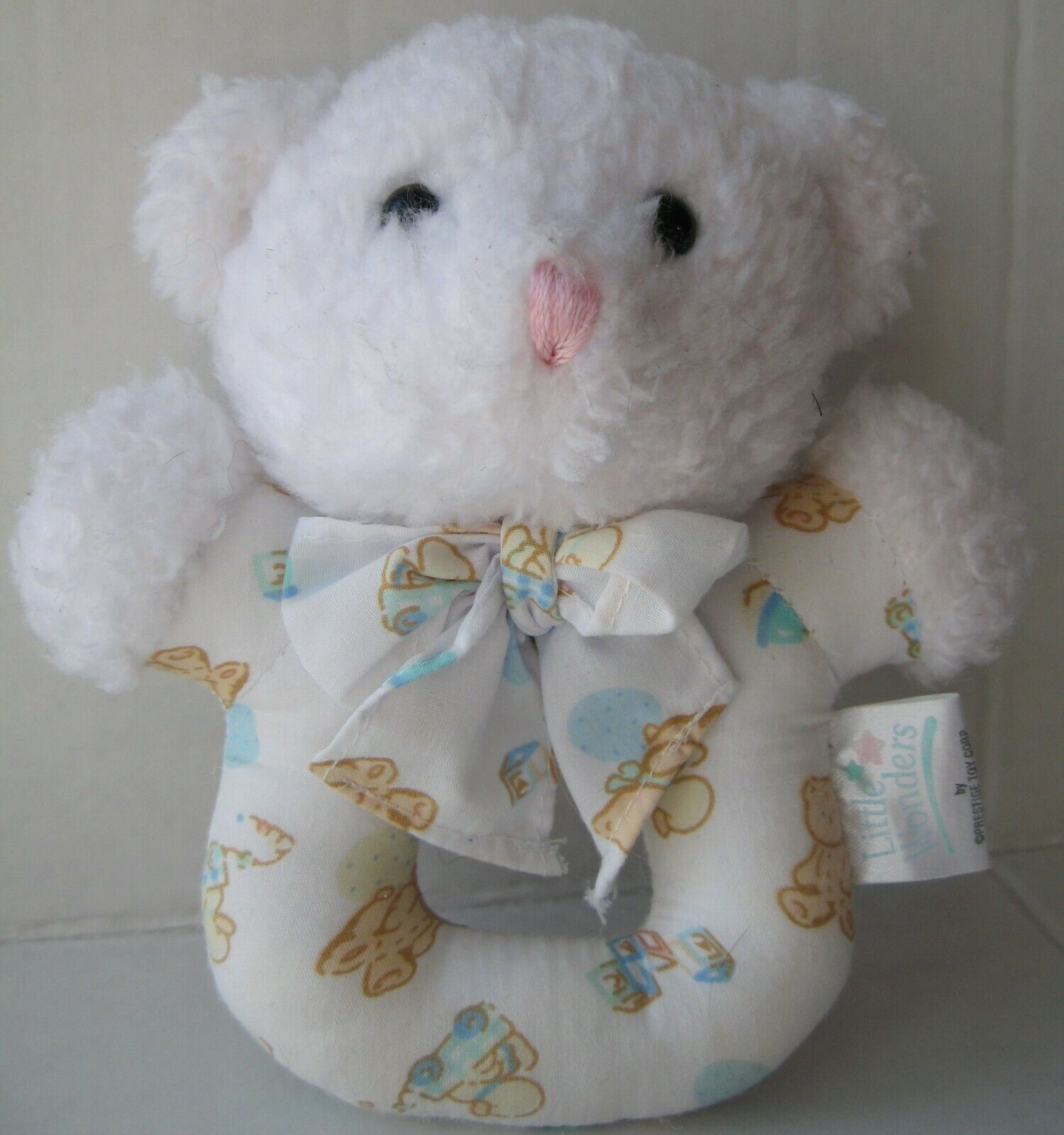 Primary image for Little Wonders Prestige Baby Rattle Plush Toy White Teddy Bear Pastel Ducks Vtg