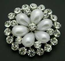Clear Rhinestone Faux Pearl Vintage Style Flower Silver Tone Pin Brooch - $19.79