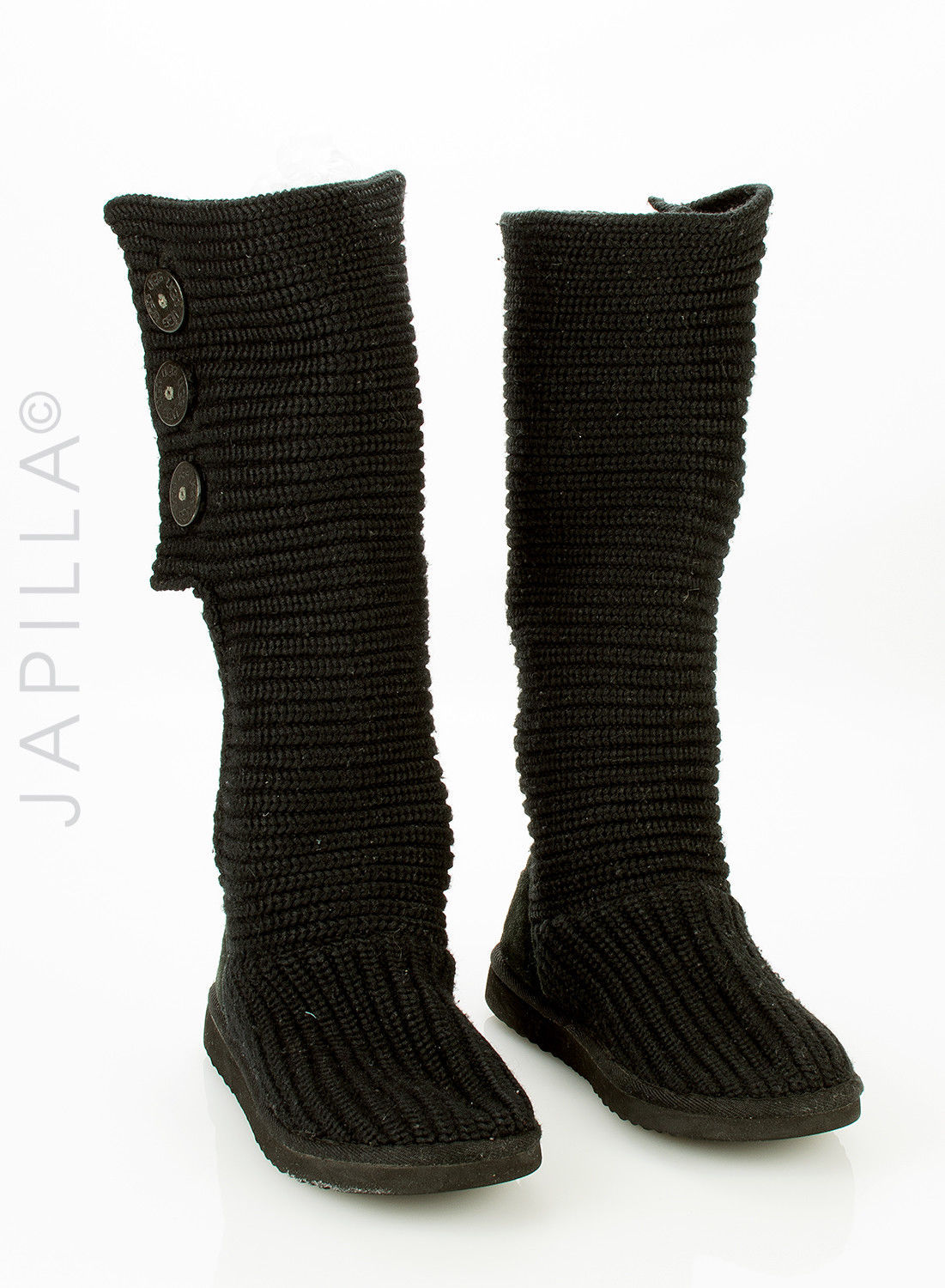 79af156971d Ugg Classic Cardy Black Knit Boots Size 7 and 50 similar items