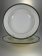Royal Doulton Cambridge Green Rimmed Soup Bowls Set of 3 - $19.31