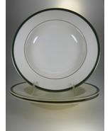Royal Doulton Cambridge Green Rimmed Soup Bowls Set of 3 - $21.46