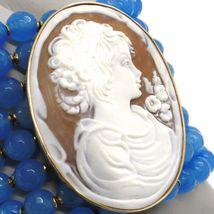 925 STERLING SILVER BRACELET BEAUTIFUL BIG LADY FLOWER CAMEO & BLUE JADE, ITALY image 3