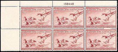 RW13, XF NH $1 Duck Plate Block of Six Stamps Cat $310.00 - Stuart Katz