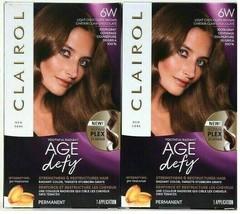 (2) Clairol Age Defy Repair Plex 6W Light Chocolate Brown Permanent Hair Dye - $22.76