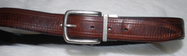 Columbia Brown Belt Mens Size 34 Waist 34W Genuine Leather Silver Buckle - $24.70