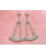 ANTIQUE ART DECO 2.30ctw DIAMOND PEARL LONG STATEMENT COCKTAIL EARRINGS 1930 - £5,801.92 GBP