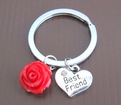 Best Friend Keychain Gift Choose Iinitial Holiday Gift Friend Keychain, ... - $10.80