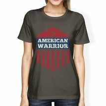 American Warrior Tee Womens Dark Grey Short Sleeve T-Shirt For Her - $18.05