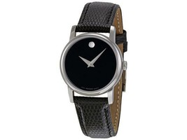 Movado Museum Black Dial Silver Black Leather Womens 2100004 Watch - $259.46