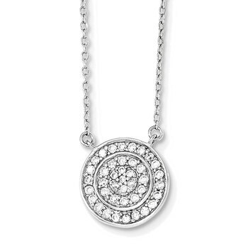 Primary image for Lex & Lu Sterling Silver Fancy CZ Circle Necklace 16""