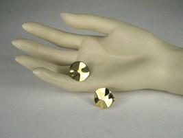 NAPIER Clip Earring Screw Back Goldtone Signed VTG Vintage Circle Wavy 3... - $24.50