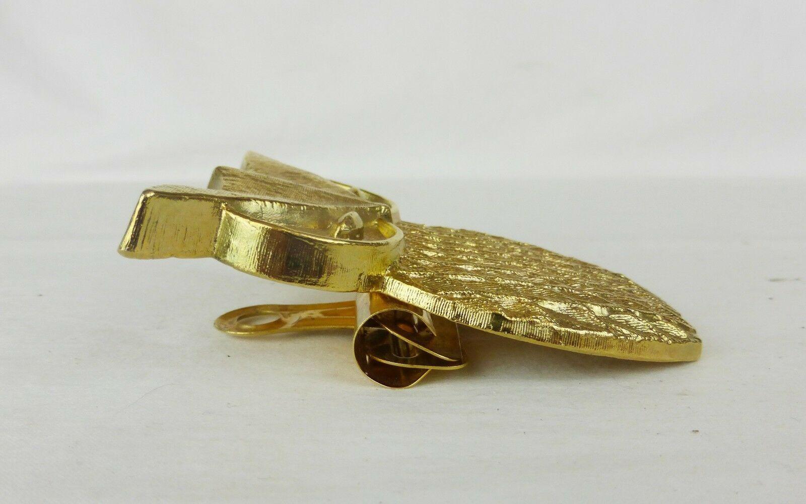 Vintage Cacciatori Mfg Co.Ottone Color Oro Gufo Boston Paper Clip N°2 Ufficio