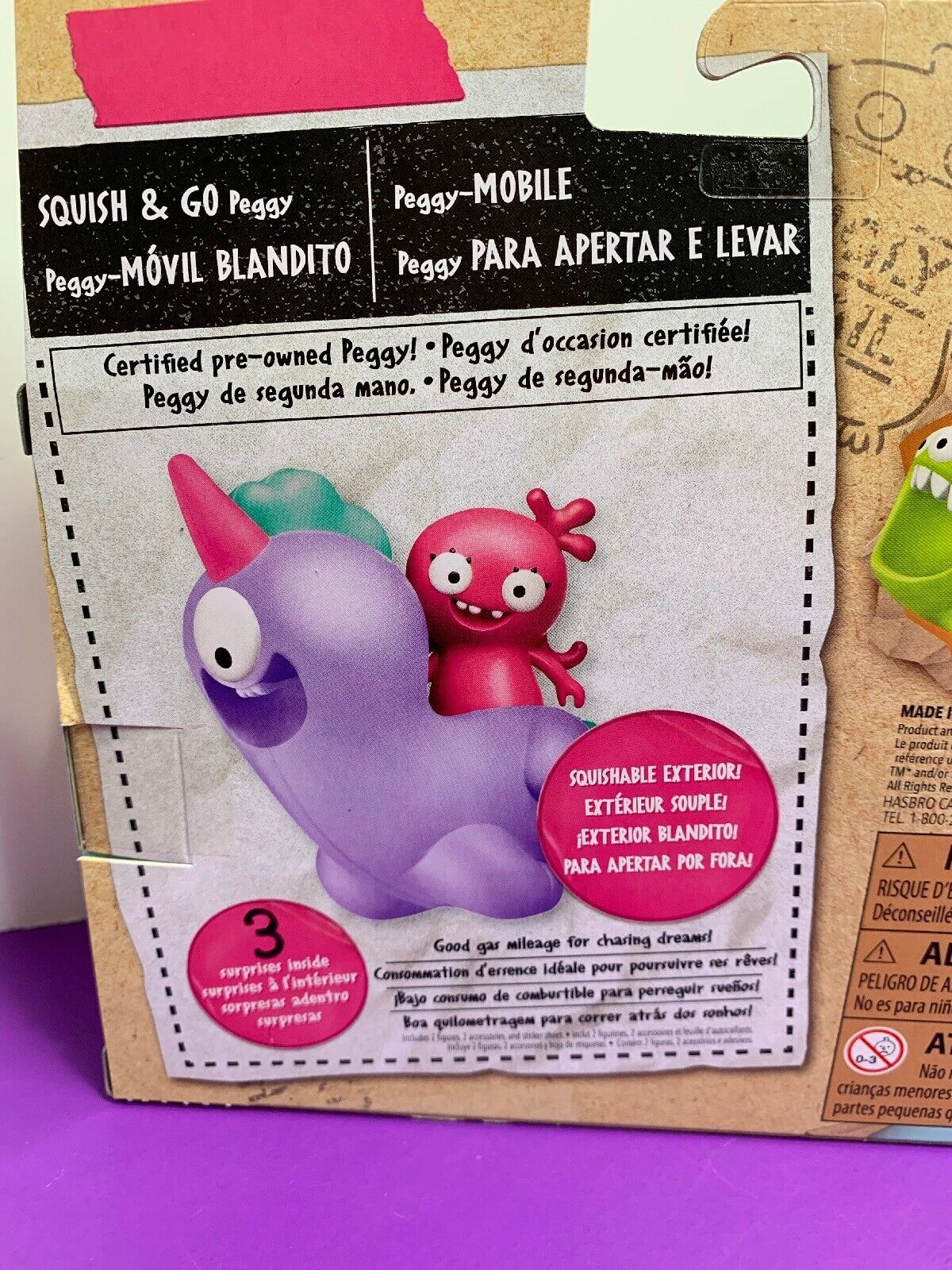 Ugly Dolls Squish & Go Peggy Mobile NEW Pink Monster Squishies Hasbro