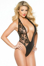 KITTEN LACE & WET LOOK PLUNGING NECKLINE TEDDY - $24.74