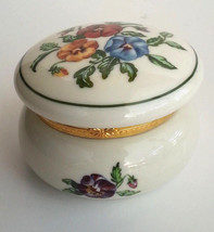 Pansy Porcelain Keepsake Tealight Candle Holder Trinket Box P7187 Partylite - $19.75