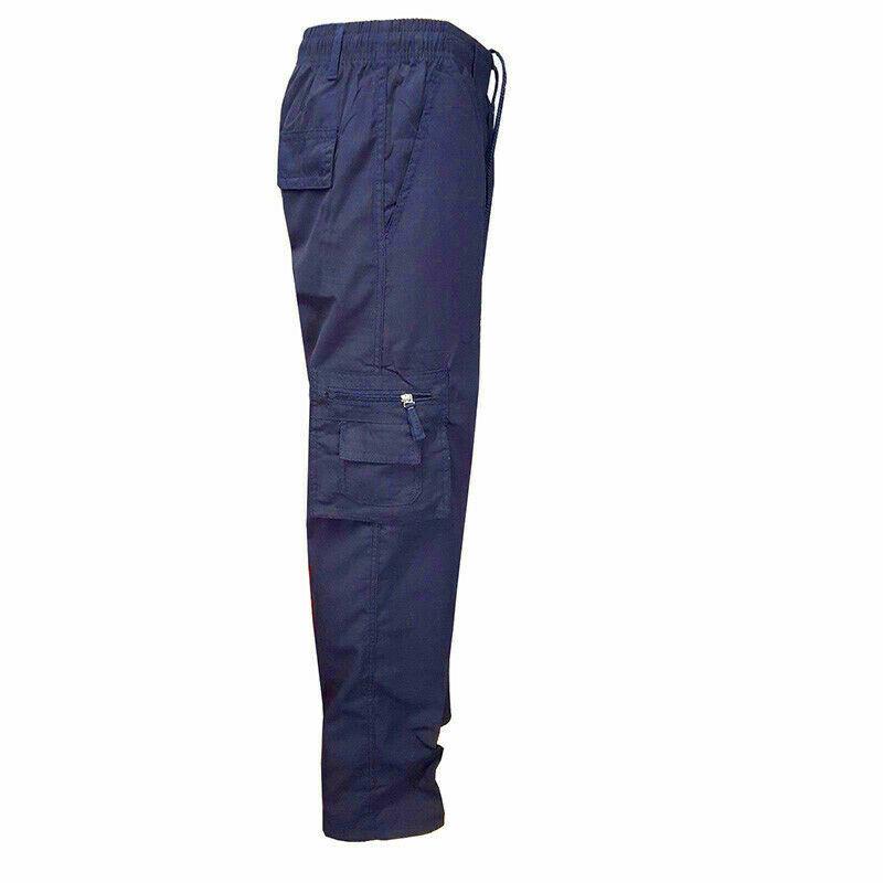 Men's Classic Elastic Waist Military Multi Pocket Navy Cargo Pants - XS
