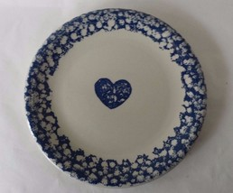 Folk Craft Dinner Plate Tienshan Hearts Sponge Ware Blue - $5.89