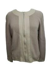 Talbots Ladies XL Full Zip Cardigan long Sleeve Sweater brown border det... - $33.52