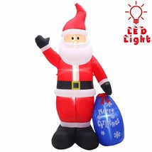NEW Christmas 8 Ft Tall Santa w/ Gift Bag Inflatable Lighted Yard Decor ... - $56.42