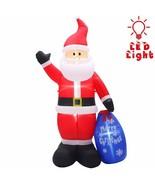 NEW Christmas 8 Ft Tall Santa w/ Gift Bag Inflatable Lighted Yard Decor ... - $56.42