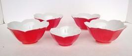 Red Lotus Blossom Custard Rice Bowls Small Bowl Soy Oriental Dip Sauce J... - $34.65