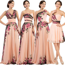 Floral Print Summer Chiffon Bridesmaid Evening Gown In 4 different styles - $89.99+