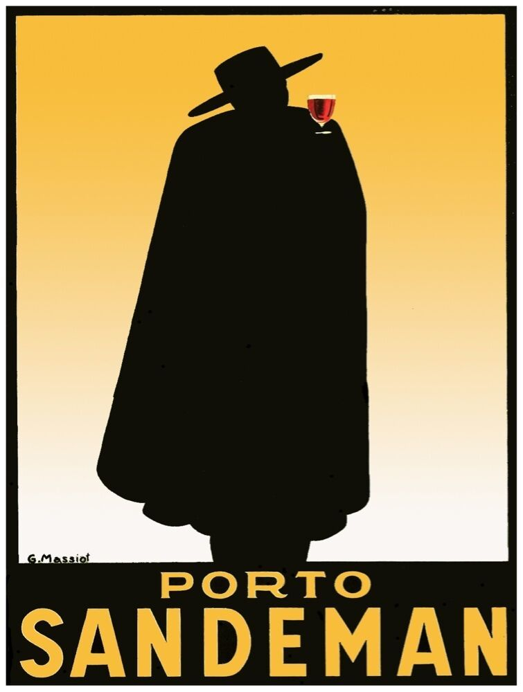 9500.Porto sandman.black clothed man with red drink.POSTER.decor Home Office art