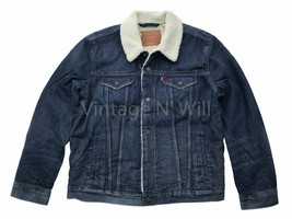 Levis Mens L Blue Ghost Wash Sherpa Denim Jean Trucker Jacket Quilted Sl... - $113.05
