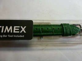 Timex Replacement Watch Band - Green - Embossed Genuine Leather - $8.90