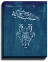 Star Wars A-Wing Patent Print Midnight Blue on Canvas - $39.95+