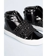 New Kendall + Kylie Duke Black Patent Leather High Top Sneakers Shoes Si... - $95.62