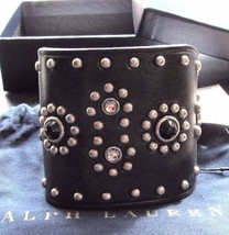 Ralph Lauren Collection Leather Stone Studded Cuff Bracelet Small Nwt - $450.00