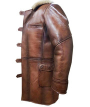 Dark Knight Rises Bane Genuine Leather Shearling Brown Ginger Trench Coat/Jacket image 2