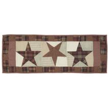 ABILENE STAR Hand-quilted Runner -13x36- Table/Dresser- Burgundy/Tan/Brown - VHC