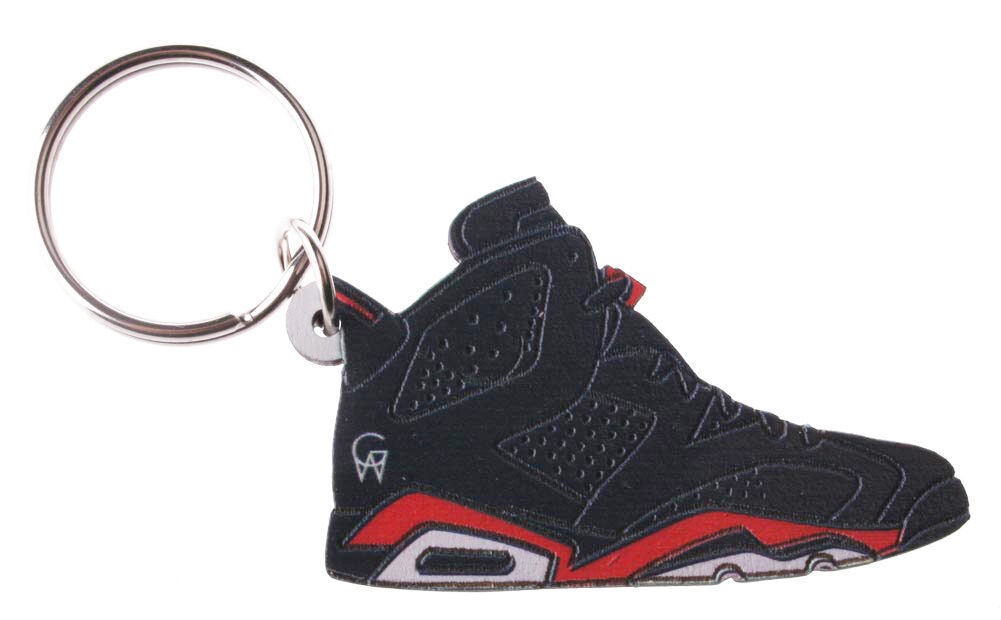 Good Wood NYC Infrared Black AJ6 6 Keychain VI White/ Key Ring Key Fob Kicks