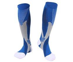1 Pair Blue/Gray Lg/XL TASOM Graduated Compression Socks Below Knee Calf... - $12.99