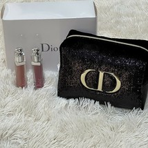 Christian Dior Addict Lip Gloss 640 & 785 With Black Trousse Pouch Cosmetic Bag - $55.70