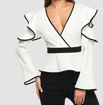 White Ruffle Detail Wrap V-Neck Top Long Sleeve Zipper Blouse Weekend Ca... - $49.99