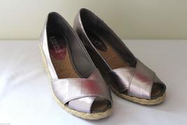 NEW Ralph Lauren Cecilia Silver Rose Metallic PeepToe Espadrille Sandals... - $76.00