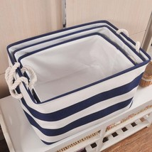 ROSEHOME® ZAKKA Style Navy Stripe Clothes Laundry Canvas Cotton Fabric O... - $9.63+