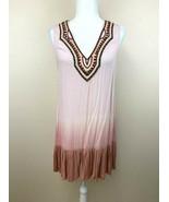 Umgee L Pink Ombre Hem Beaded Embroidered Tunic Mini Dress Boho - $19.99